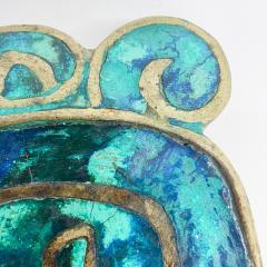 Pepe Mendoza Pepe Mendoza Brass Malachite Decorative Dish ASHTRAY 1958 Mexico - 2034279