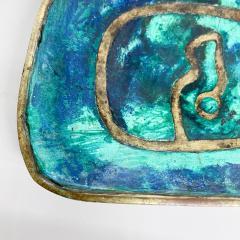 Pepe Mendoza Pepe Mendoza Brass Malachite Decorative Dish ASHTRAY 1958 Mexico - 2034280