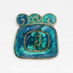 Pepe Mendoza Pepe Mendoza Brass Malachite Decorative Dish ASHTRAY 1958 Mexico - 2035921