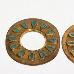 Pepe Mendoza Pepe Mendoza Cloisonn Round Door Knob Plates Malachite Bronze 1958 Mexico - 1983287