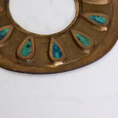Pepe Mendoza Pepe Mendoza Cloisonn Round Door Knob Plates Malachite Bronze 1958 Mexico - 1983289