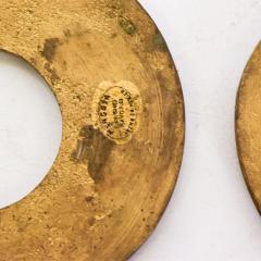 Pepe Mendoza Pepe Mendoza Cloisonn Round Door Knob Plates Malachite Bronze 1958 Mexico - 1983292