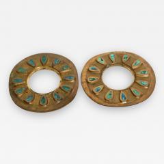 Pepe Mendoza Pepe Mendoza Cloisonn Round Door Knob Plates Malachite Bronze 1958 Mexico - 1985718