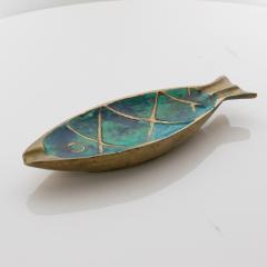 Pepe Mendoza Pepe Mendoza Fun Fish Dish Ashtray 1958 Mexico in Turquoise Malachite Bronze - 1686064