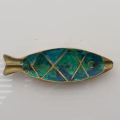 Pepe Mendoza Pepe Mendoza Fun Fish Dish Ashtray 1958 Mexico in Turquoise Malachite Bronze - 1686066