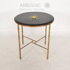 Pepe Mendoza Pepe Mendoza Malachite Sun God on Round Brass Bamboo Table 1950s Modernism - 1542817