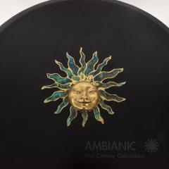 Pepe Mendoza Pepe Mendoza Malachite Sun God on Round Brass Bamboo Table 1950s Modernism - 1542818