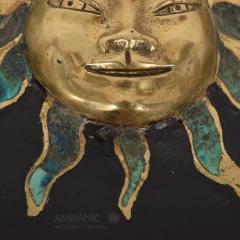 Pepe Mendoza Pepe Mendoza Malachite Sun God on Round Brass Bamboo Table 1950s Modernism - 1542819