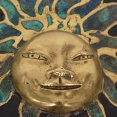 Pepe Mendoza Pepe Mendoza Malachite Sun God on Round Brass Bamboo Table 1950s Modernism - 1542820