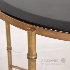 Pepe Mendoza Pepe Mendoza Malachite Sun God on Round Brass Bamboo Table 1950s Modernism - 1542821
