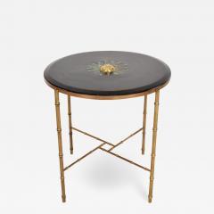 Pepe Mendoza Pepe Mendoza Malachite Sun God on Round Brass Bamboo Table 1950s Modernism - 1543613