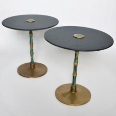 Pepe Mendoza Pepe Mendoza Sharp Black Stone Side Tables with Malachite Bronze 1950s Modern - 1989894