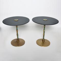Pepe Mendoza Pepe Mendoza Sharp Black Stone Side Tables with Malachite Bronze 1950s Modern - 1989895