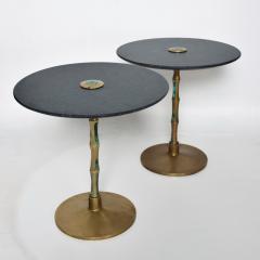 Pepe Mendoza Pepe Mendoza Sharp Black Stone Side Tables with Malachite Bronze 1950s Modern - 1989896