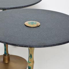 Pepe Mendoza Pepe Mendoza Sharp Black Stone Side Tables with Malachite Bronze 1950s Modern - 1989898