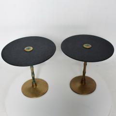 Pepe Mendoza Pepe Mendoza Sharp Black Stone Side Tables with Malachite Bronze 1950s Modern - 1989900