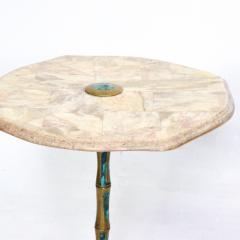 Pepe Mendoza Pepe Mendoza Sublime Round Side Tables in Marble Malachite and Bronze 1950s - 1988239