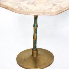 Pepe Mendoza Pepe Mendoza Sublime Round Side Tables in Marble Malachite and Bronze 1950s - 1988240