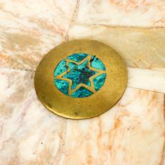 Pepe Mendoza Pepe Mendoza Sublime Round Side Tables in Marble Malachite and Bronze 1950s - 1988245