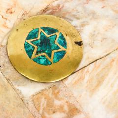 Pepe Mendoza Pepe Mendoza Sublime Round Side Tables in Marble Malachite and Bronze 1950s - 1988247