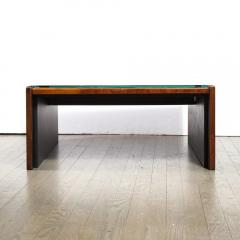 Percival Lafer Mid Century Modern Brazilian Mahogany Glass Cocktail Table by Percival Lafer - 1950196