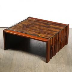 Percival Lafer Mid Century Modern Brazilian Mahogany Glass Cocktail Table by Percival Lafer - 1950214