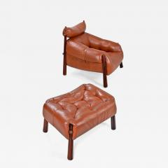 Percival Lafer Percival Lafer MP 81 Brazilian Rosewood Leather Lounge Chairs  And Ottoman Set   670056