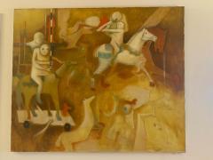Perez Cubas SURREALIST MID CENTURY CAROUSEL PAINTING BY PEREZ CUBAS - 1900379