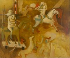 Perez Cubas SURREALIST MID CENTURY CAROUSEL PAINTING BY PEREZ CUBAS - 1909642