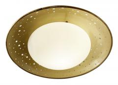 Perforated Mid Century Flush Mount with Frosted Glass Shade - 2070296