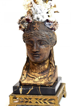 Period Empire Bust Fragment with Black Coral Sea Fan Sculpture - 741133