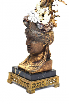 Period Empire Bust Fragment with Black Coral Sea Fan Sculpture - 741134