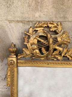 Period Louis XVI 18th Century French Giltwood Louis XVI Mirror with Lyre - 1159673