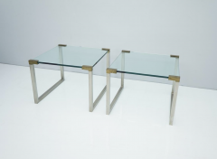 Peter Ghyczy Pair of Peter Ghyczy Side Tables in Glass and Brass 1970s - 1775011