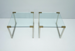Peter Ghyczy Pair of Peter Ghyczy Side Tables in Glass and Brass 1970s - 1775012