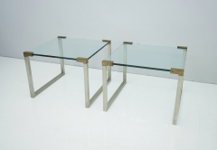 Peter Ghyczy Pair of Peter Ghyczy Side Tables in Glass and Brass 1970s - 1775013