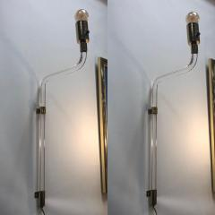 Peter Hamburger MODERN LUCITE AND BRASS WALL SCONCES BY PETER HAMBURGER FOR KNOLL A PAIR - 1046775