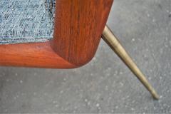 Peter Hvidt Orla M lgaard Nielsen Pair Teak Hvidt Molgaard Boomerang Lounge in Teal Tweed - 2061157