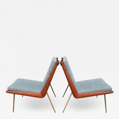 Peter Hvidt Orla M lgaard Nielsen Pair Teak Hvidt Molgaard Boomerang Lounge in Teal Tweed - 2064438