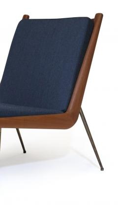 Peter Hvidt Orla M lgaard Nielsen Peter Hvidt Danish Teak Lounge Chair on Brass Legs - 1072175