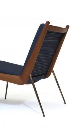 Peter Hvidt Orla M lgaard Nielsen Peter Hvidt Danish Teak Lounge Chair on Brass Legs - 1072176