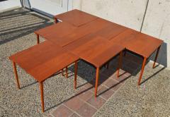 Peter Hvidt Orla M lgaard Nielsen RARE set of 6 SOLID TEAK SIDE STACKING COFFEE TABLES by Hvidt - 2074127