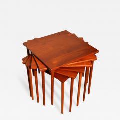 Peter Hvidt Orla M lgaard Nielsen RARE set of 6 SOLID TEAK SIDE STACKING COFFEE TABLES by Hvidt - 2075761