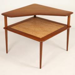 Peter Hvidt Scandinavian Modern Teak Cane Corner or Lamp Table By Hans Wegner - 2018002