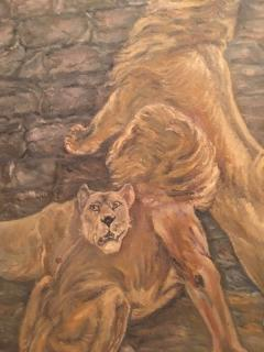 Peter Maier MID CENTURY MEDIEVAL SACRIFICE TO LION DEN PAINTING - 1074593