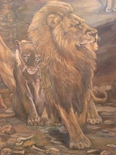 Peter Maier MID CENTURY MEDIEVAL SACRIFICE TO LION DEN PAINTING - 1074595