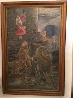 Peter Maier MID CENTURY MEDIEVAL SACRIFICE TO LION DEN PAINTING - 1074596