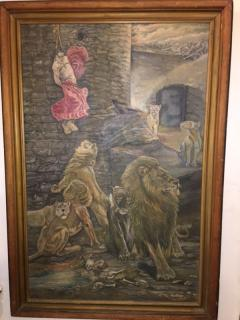 Peter Maier MID CENTURY MEDIEVAL SACRIFICE TO LION DEN PAINTING - 1074598