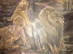 Peter Maier MID CENTURY MEDIEVAL SACRIFICE TO LION DEN PAINTING - 1074599