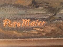 Peter Maier MID CENTURY MEDIEVAL SACRIFICE TO LION DEN PAINTING - 1074600